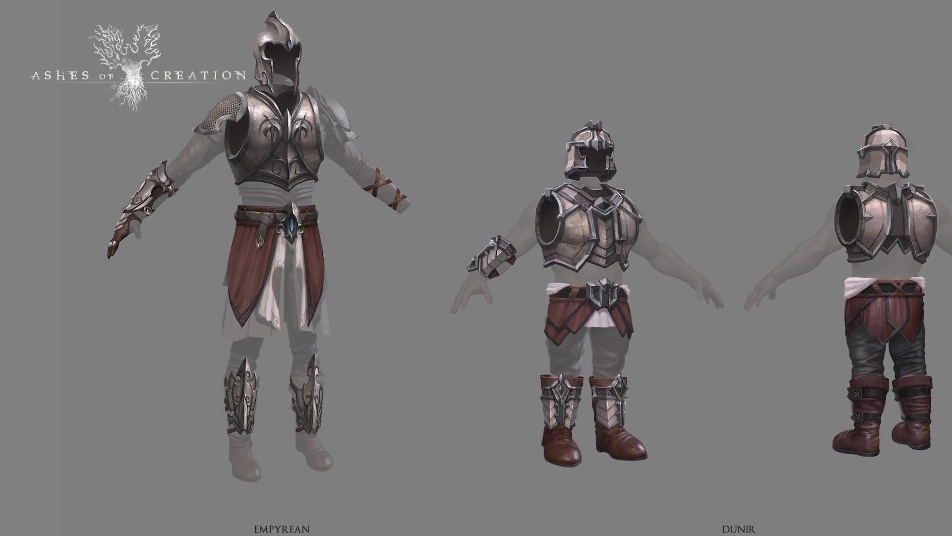 Arte conceptual de armaduras de estilo racial Dünir y Empyrean
