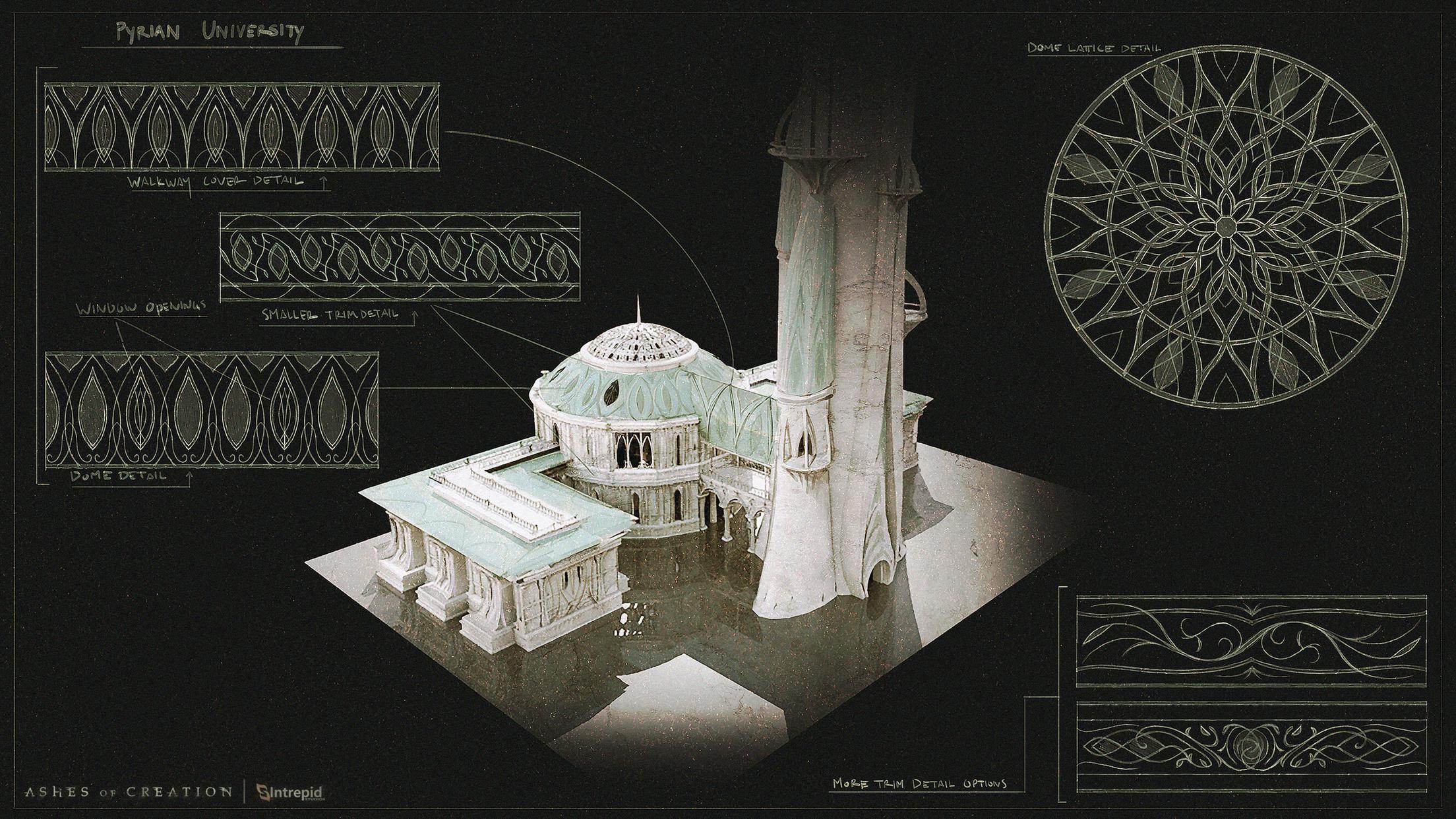 arte conceptual universidad elfos pyrian ashes of creation en español
