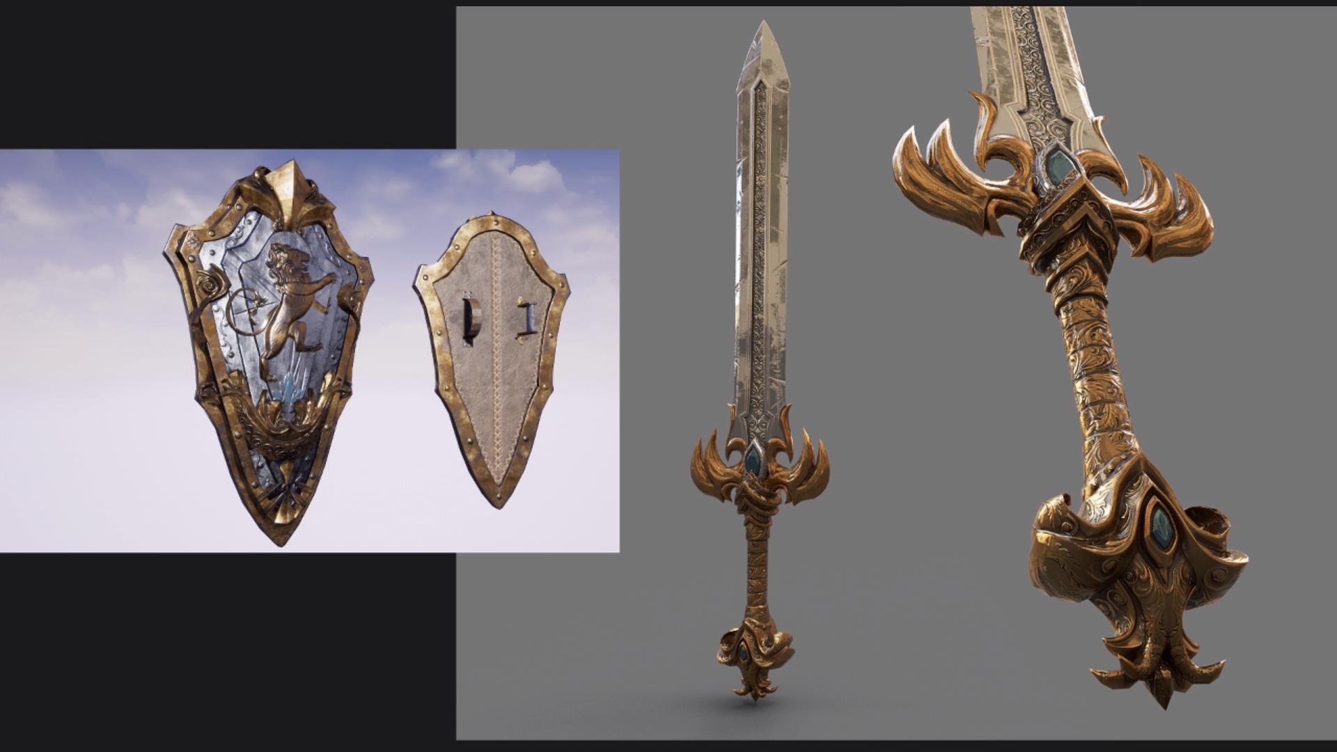 espada y escudo armas ashes of creation en español